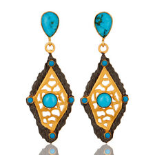 18K Gold Plated Turquoise Elegant Designer Fashion Drop Earrings Jewelry