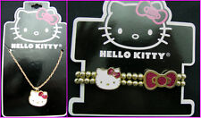 Hello Kitty girls fashion Necklace and bracelet gold white and pink brand new