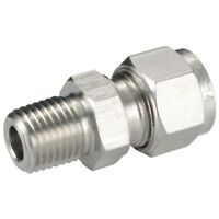 """ACERO INOXIDABLE 316 DOBLE CASQUILLOS - 04mm OD x 1/8"""" BSPT macho perno 316 ST."""