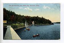 Worcester Shrewsbury MA Mass Lake Quinsigamond people in boats, having fun, 1907