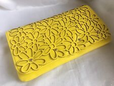 Melie Bianco Yellow Laser Floral Cut Out Clutch Purse - New
