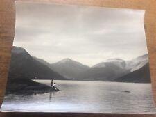 """Vtintage 1960s Original 15x12"""" B&W 1960s Photo 2 Boys Fishing on a Lake Loch"""