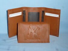 New York NY YANKEES   Leather TriFold Wallet    NEW    brown 2
