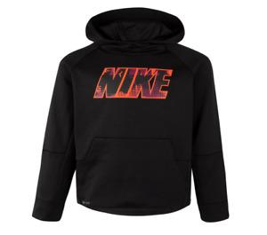 Nike Little Boys Long Sleeve Hooded Dri-Fit Fleece Top Pullover 4XS, 6M Black