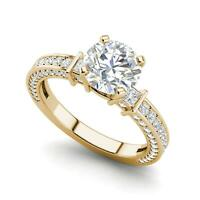Three Sided Pave 1.35 Carat VS1/F Round Cut Diamond Engagement Ring Yellow Gold
