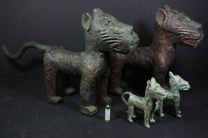 African BENIN Bronze Leopard Family of 4 - Nigeria, AFRICAN TRIBAL ART PRIMITIVE