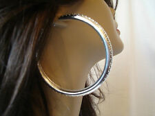 LARGE 3.5 INCH SILVER TONE MESH PRINT DESIGN HOOP EARRINGS