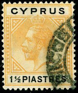 CYPRUS SG107, 1½pi Orange & Black, USED. Cat £13.