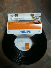 Philips RG6 Quad Shield Coax 100' - RV Remote Satellite Dish or Home Dish Input