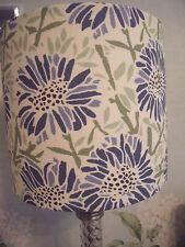 Handmade Lampshade - Emily Burningham Daisy Blue or white fabric 20cm drum