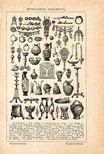 Stampa antica ARTE ETRUSCA gioielli collane vasi anfore armi 1910 Old print