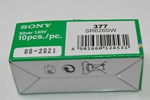 1x Sony 377 Uhren-Batterie Knopfzelle SR626SW SR626 AG4 Neu Silberoxid