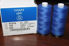Thread Coats Epic 120, Nahgarn Starke, 100% Polyester Corespun, Col:513YQ Blue