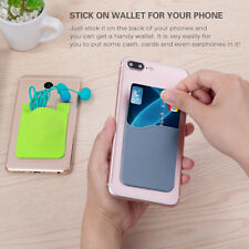 Phone Stick On Wallet Credit ID Card Holder Silicone series Adhesive New I1Z2