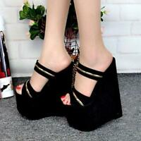Womens Platform Super High Heel Wedge Slippers Sandals Party Casual New Shoes