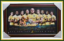 2015 WORLD CUP AUSTRALIA WALLABIES OFFICIAL RUGBY SIGNED PRINT FRAMED - FOLAU