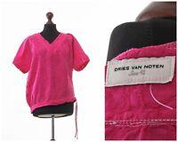 Women's DRIES VAN NOTEN Top Blouse Short Sleeve T Shirt Pink Size 42