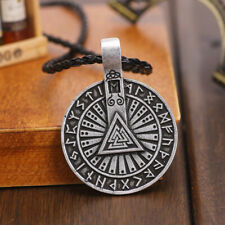 Men's Antique Silver/Bronze Norse Viking Valknut Runes Pendant Amulet Necklace