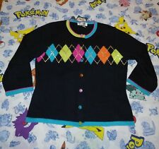 Jack B. Quick Argyle Sweater Sequin Embellished Cardigan Black Colorful Medium