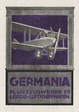 Germania GmbH Flugzeuge Leipzig Luftschiffhafen Plakat Braunbeck Motor A3 357