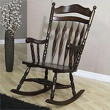 coaster rocking chair with carved vintage detail walnut wooden finish firm seat