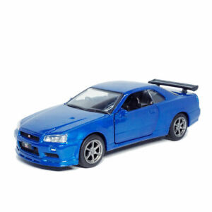 1:36 Nissan GTR R34 Skyline Model Car Diecast Toy Vehicle Collection Gift Blue