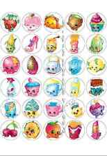 30 x SHOPKINS PRE-CUT edible WAFER CARD Girls Birthday Party cup cake toppers