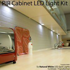Auto On/Off LED Kit –5 In/Under Cabinet Kitchen Light–PIR Motion Sensor/Detector