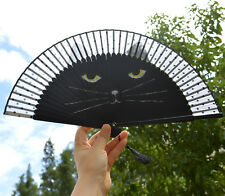 Black Cat Lady Retro Vintage Hand-Held Bamboo Lace Decorative Folding Fan Kimono
