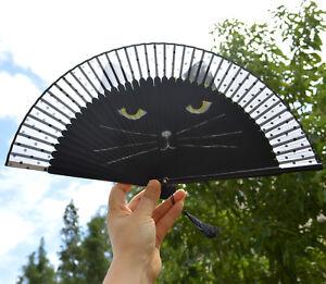 Black Cat Lady Retro Vintage Hand-Held Bamboo Lace Decorative Folding Fan Kimono