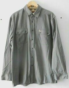 Hawkshead Men's Casual Outdoor Grey Long Sleeve Button Down Shirt Pockets Size L