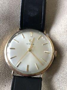 Rare Vintage 9ct Gold Cyma Mens Gents Wristwatch Watch Mechanical Wind
