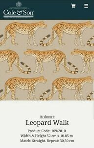 Anthropologie Cole & Son Leopard Walk Big Cat Wallpaper Single Roll 10.5m x 52cm