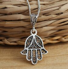 Solid 925 Sterling Silver Filigree Hamsa-Hand of Fatima Pendant Good Luck Charm