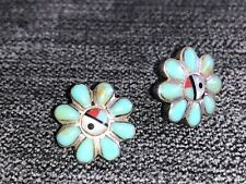 VINTAGE NAVAJO STERLING SILVER EARRINGS SET WITH TURQUOISE ETC