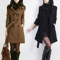 Womens OL Double-breasted Jacket Slim Trench Coat Belted Outwear Casual Overcoat