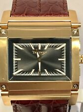 Triumph Motorcycle Reversible Analog-Digital Goldtone Rectangular Qtz Mens Watch