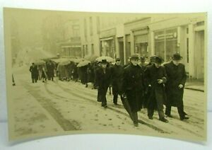 Antique Postcard Real Photo Funeral Procession Dignitary Snowing crowd town RPPC