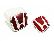 JDM WHITE FRONT & REAR RED-H EMBLEMS FOR HONDA ACURA RSX INTEGRA DC5 02-04 NEW