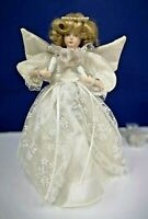 White Lighted Angel Tree Topper CHRISTMAS w/ Lighted Dress 380 NEW Leco