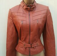 Size 12 UK KAREN MILLEN LADIES TAN SOFT LEATHER BIKER JACKET