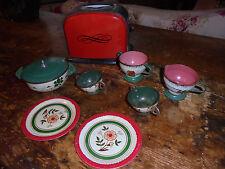 Lot of vintage estate sale childrens dishes cottage metal toaster & pans chic
