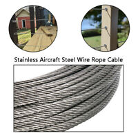 "1/8"" 304 Grade 7x7 Stainless Steel Aircraft Cable Wire Rope (100ft-500ft) New!"