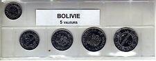 Bolivie série de 5 pièces de monnaie