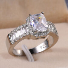 White Sapphire Rings Set Size 9 Elegant 925 Silver Rings Women Emerald Cut