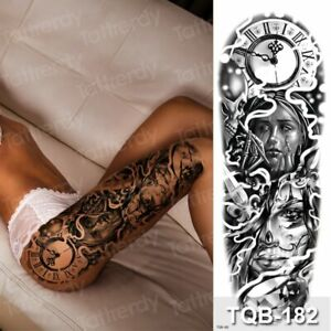 Large Temporary Tattoos Thigh Leg Tattoo Sleeve Pattern Waterproof Sticker