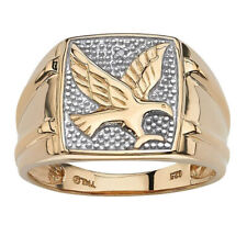 Men's 18K Gold Filled 925 Silver Eagle Au 750 Ring Women Wedding Jewelry Sz 7-12
