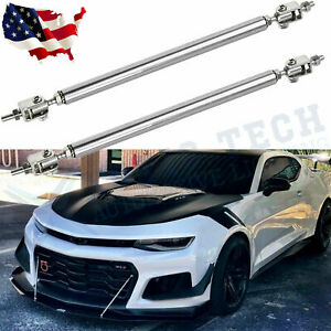 Adjustable Front Bumper Lip Splitter Strut Rod Tie Support Bars For Chevy Camaro