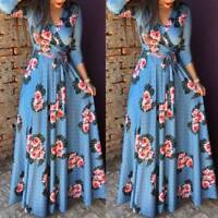 Women Floral Long Sleeve Maxi Dress Ladies Casual Evening Party Dress Plus Size