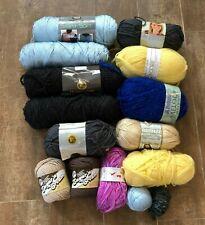 Sugar & Cream yarn multicolor lot bernat patons 12 skein blue yellow tan black